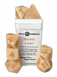 Set of 7 Dice: Polyhedral Marble Latte with Metallic Gold Numbers