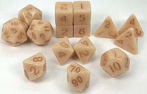 Set of 15 Dice: Polyhedral Marble Latte with Metallic Gold Numbers