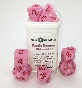 Set of 7 Dice: Polyhedral Faerie Dragon Shimmer with Rose Numbers