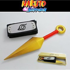 Naruto Cosplay 2-Pack Set: Hidden Leaf Headband & Kunai